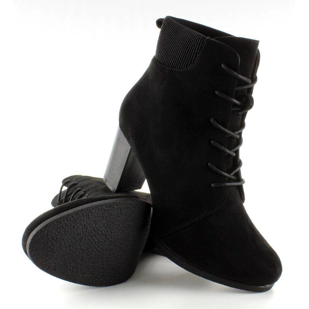 Botki Damskie Obuwiedamskie Czarne Borki Zamszowe Sznurowane C306 Black Obuwie Damskie Trending Heels Boots Shoes
