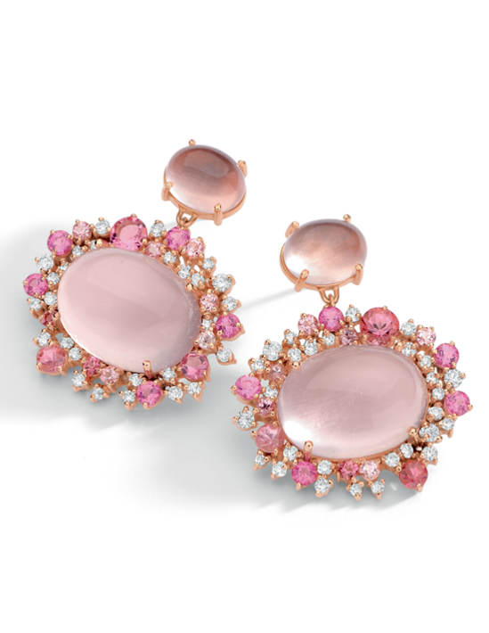 Baobab Rose earrings in 18K rose gold with round diamonds