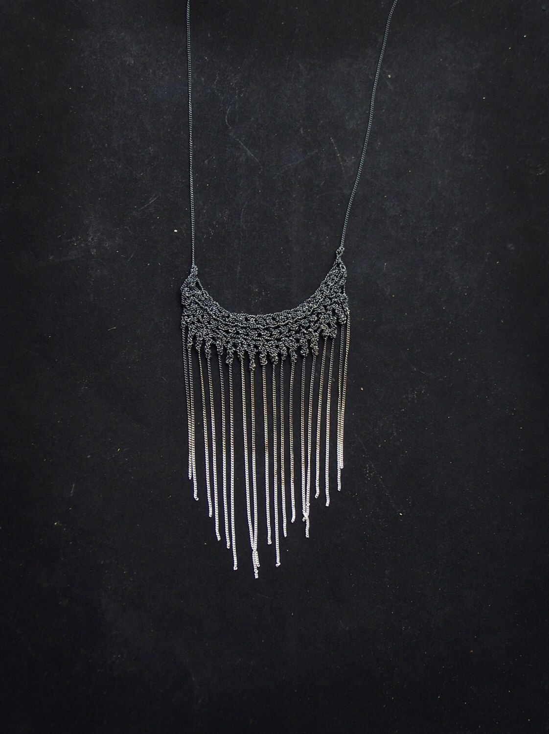 washed gradient 925 silver crochet fringe necklace, handmade contemporary jewelry by PetiteMortShop on Etsy https://www.etsy.com/listing/122158657/washed-gradient-925-silver-crochet