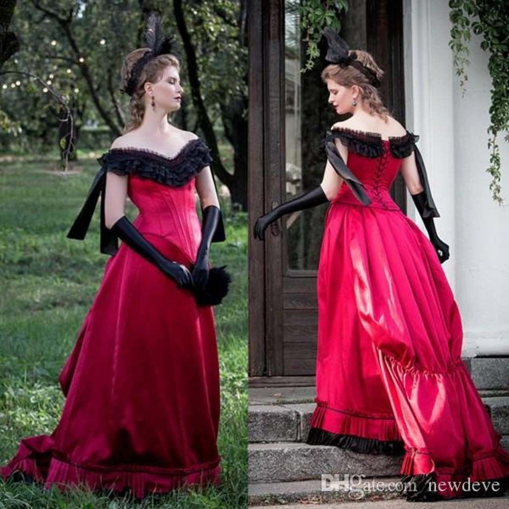 Gothic black and red prom dress off shoulder cosplay costume