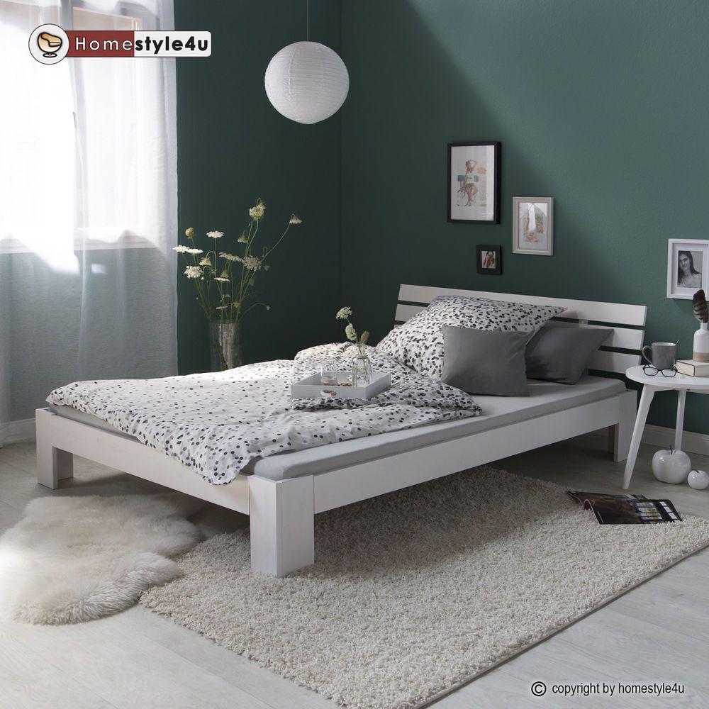 Doppelbett Holzbett Futonbett 140x200 Weiss Kiefer Bett Bettgestell Massivholz
