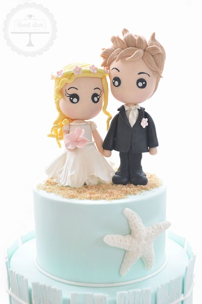 Cute Bride And Groom Wedding Cake Toppers Hand Crafted From