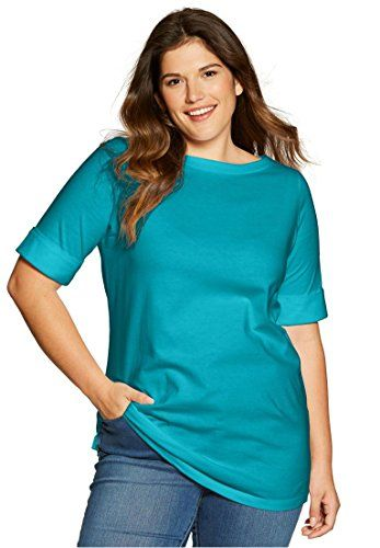 61409021a0ca0d Womens Plus Size Perfect Boatneck Tee With Cuffed Elbow Length Sleeves >>>  More info could be found at the image url.Note:It is affiliate link to  Amazon.