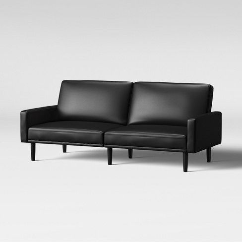 Faux Leather Futon Sofa With Arms Black Room Essentials Target