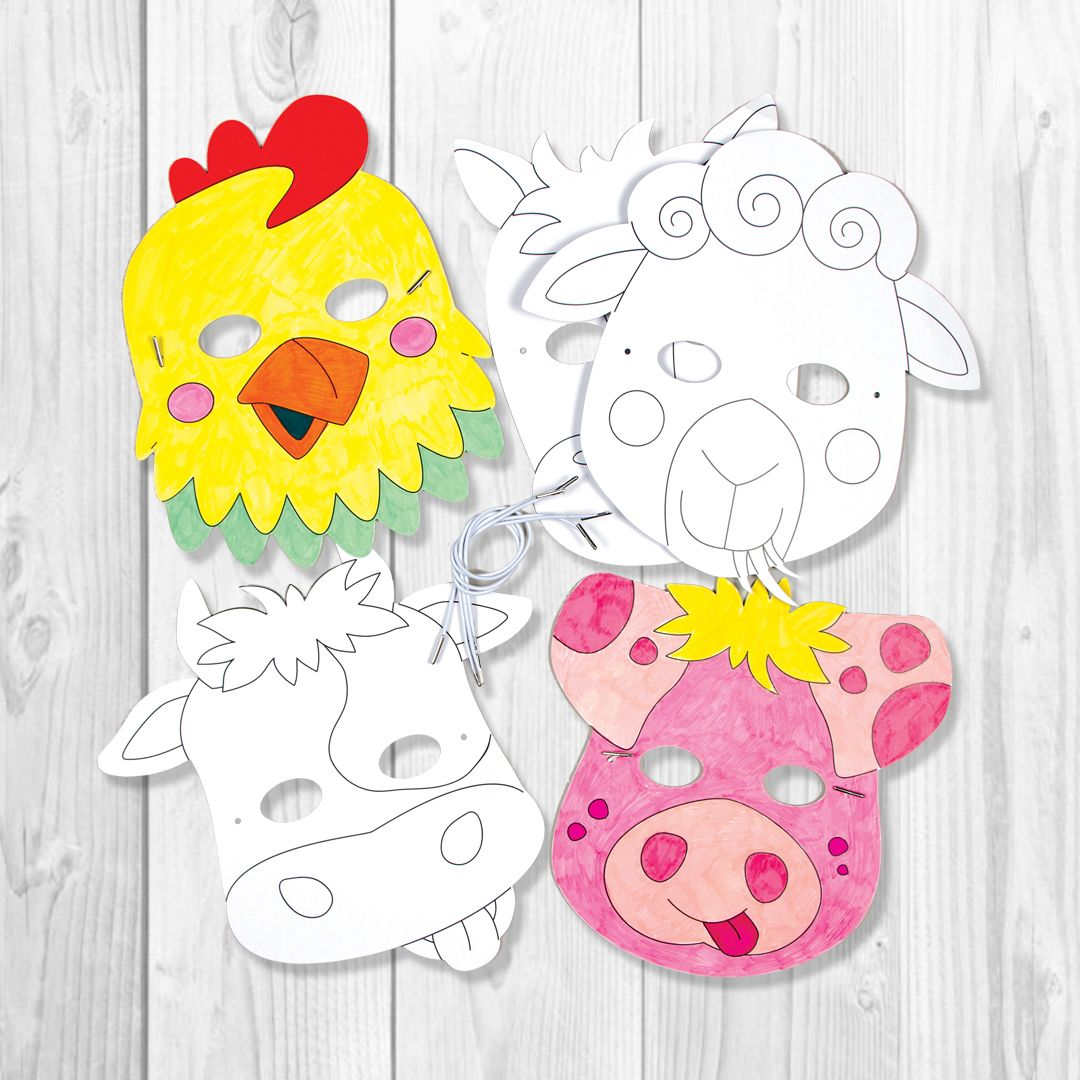 Card Masks To Decorate Buy Now Farm Animal Colourin Masks Children Can Pick Their