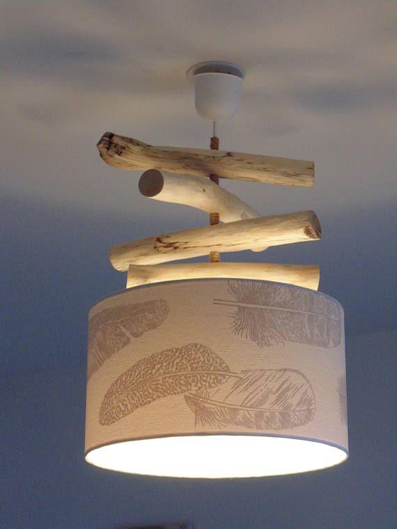 Lustre bois flotté abat jour cylindre 35 cm blanc motifs ...
