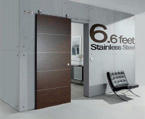 black friday 6 ft modern stainless steel interior sliding barn wooden door hardware track set from cyber monday