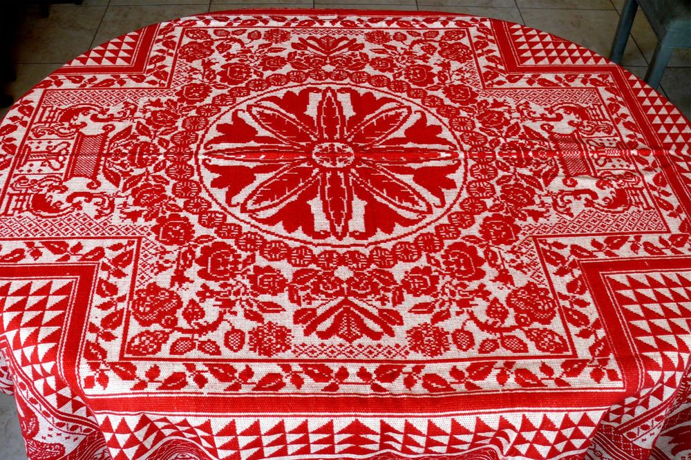 Hand Made American Wool Coverlet c1850 w/ Eagles & Tulips, Orange-Red MINT Cond
