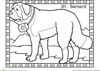 St Bernard Worksheet Education Com Cat Coloring Book Dog Coloring Page Puppy Coloring Pages