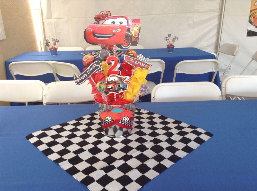 Disney cars birthday party table set up centerpice 2nd birthday & Disney cars birthday party table set up centerpice 2nd birthday ...