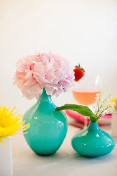 Teal Vases With Pink Flowers Decorating Pinterest Centerpieces