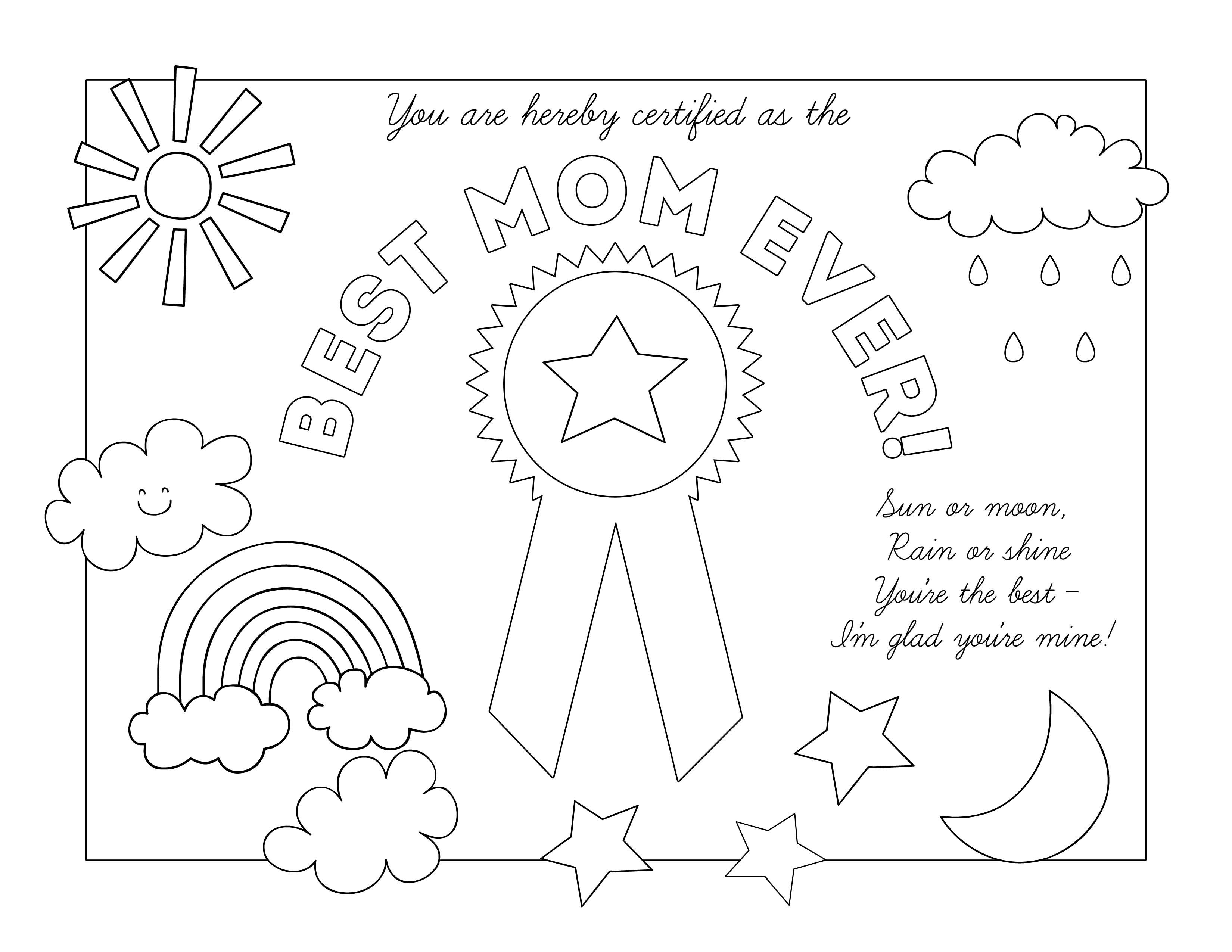 coolest coloring pages ever | Best Mom Ever Weather Certificate | Activity days ...