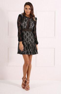 009adaaec0 Forever Unique - Teri Black Long Sleeve Lace Dress (CH1114-BLACK ...