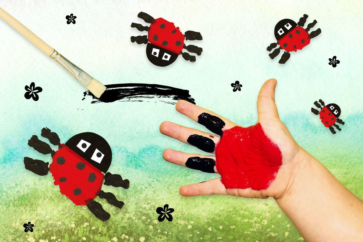 Marienkäfer Malen Mit Fingerfarben Basteln Frühling