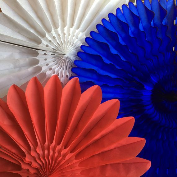 4th of July Mix Honeycomb Fans Tissue Paper Fans by sweetestelle