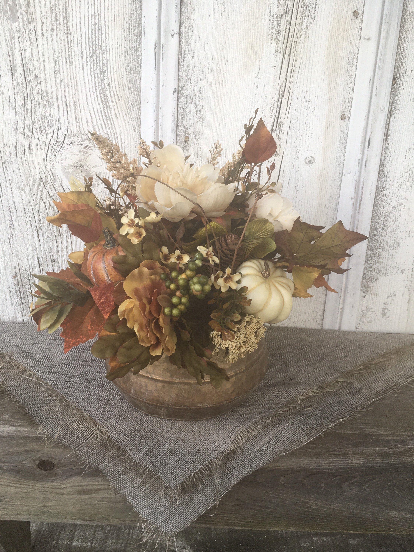 Autumn brushed gold fall pumpkin and floral arrangement