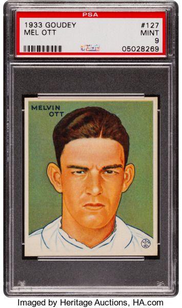 Baseball Cardssingles 1930 1939 1933 Goudey Mel Ott 127 Psa