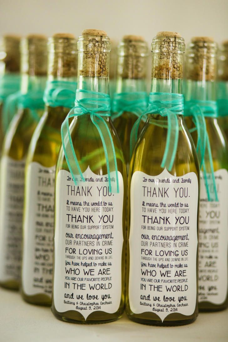Wine Wedding Favors We Love- Let your friends and family know how much they mean to you -- right on the bottle. l :
