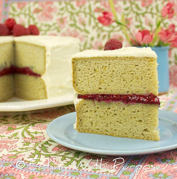 Gluten Free Cake With Raspberry Chia Filling And Vanilla Cream