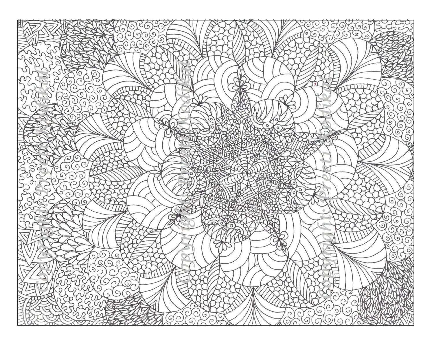 Pen illustration printable coloring page zentangle inspired henna or ...
