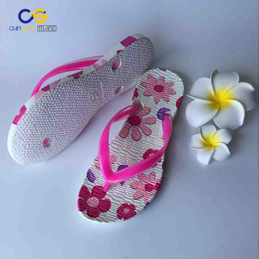 1abf22185cfe Wholesale fashion PVC footwear girls flip flops personalized ladies slippers  with flower printing
