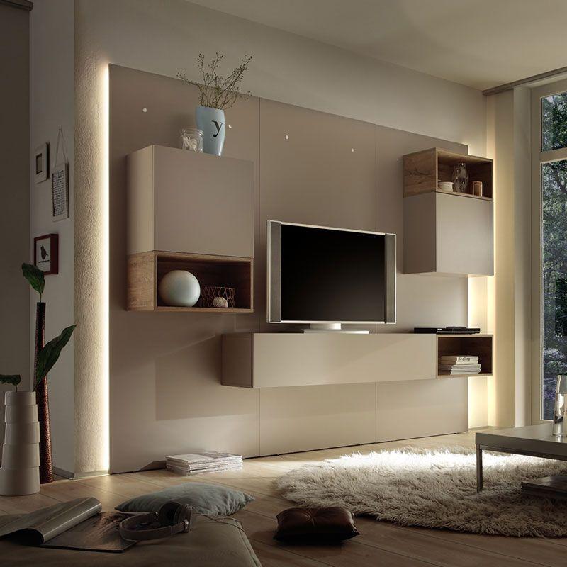 ensemble meuble tv lumineux laque beige