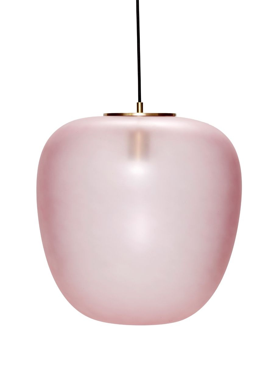 HÜBSCH Große Deckenlampe Glas Messing rosa Deckenlampe