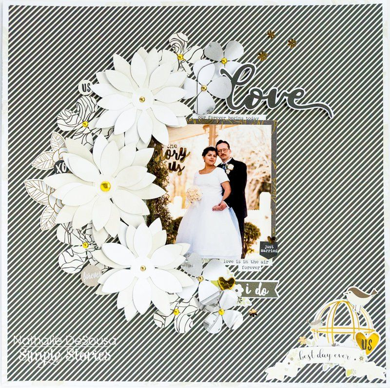 Love Layout Created With The Simple Stories Always And Forever Collection Available Now At Wedding Scrapbook Pages Wedding Scrapbook Bridal Shower Scrapbook