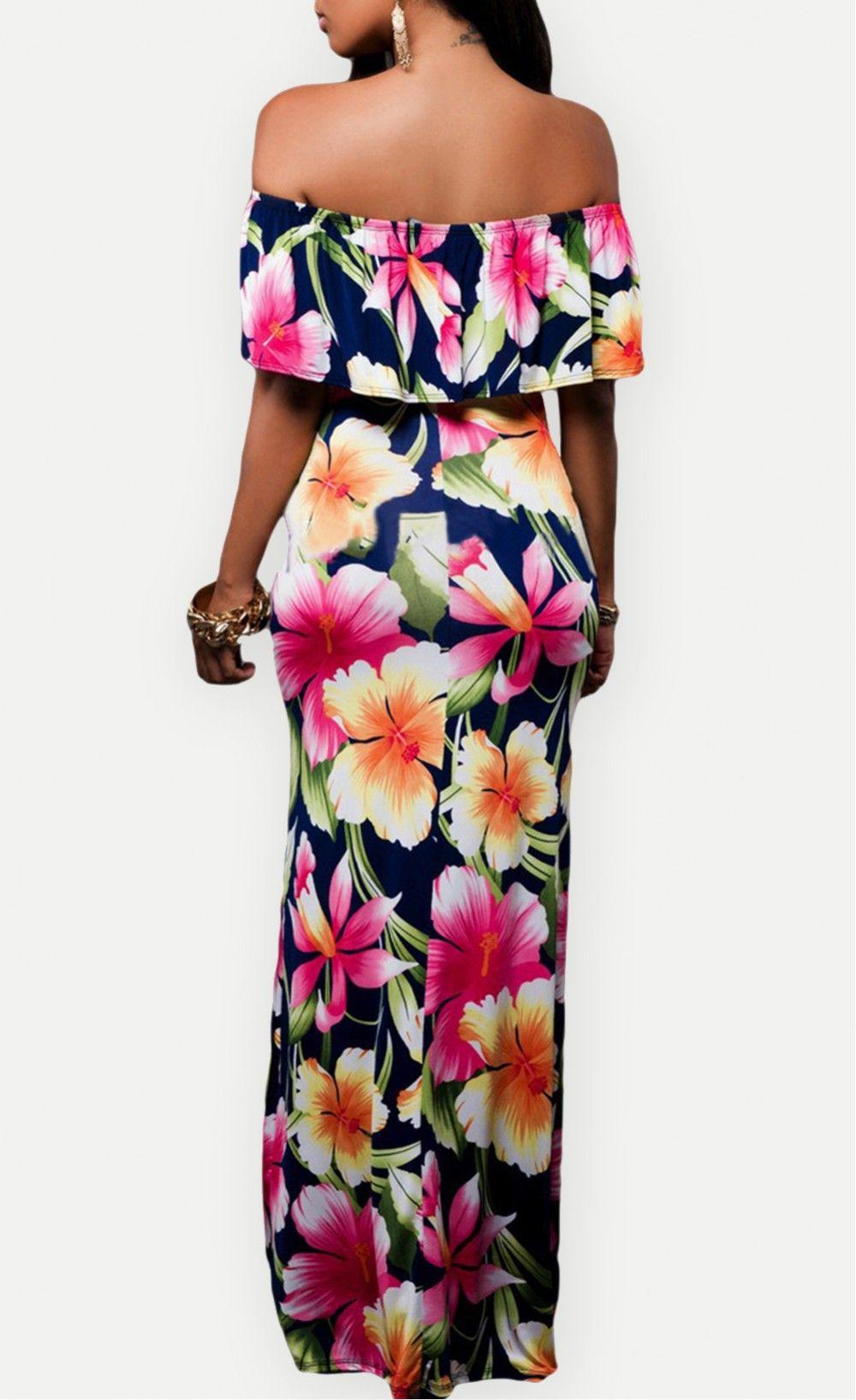Navy Blue Roses Print Off-the-shoulder Maxi Dress   Fashion ...
