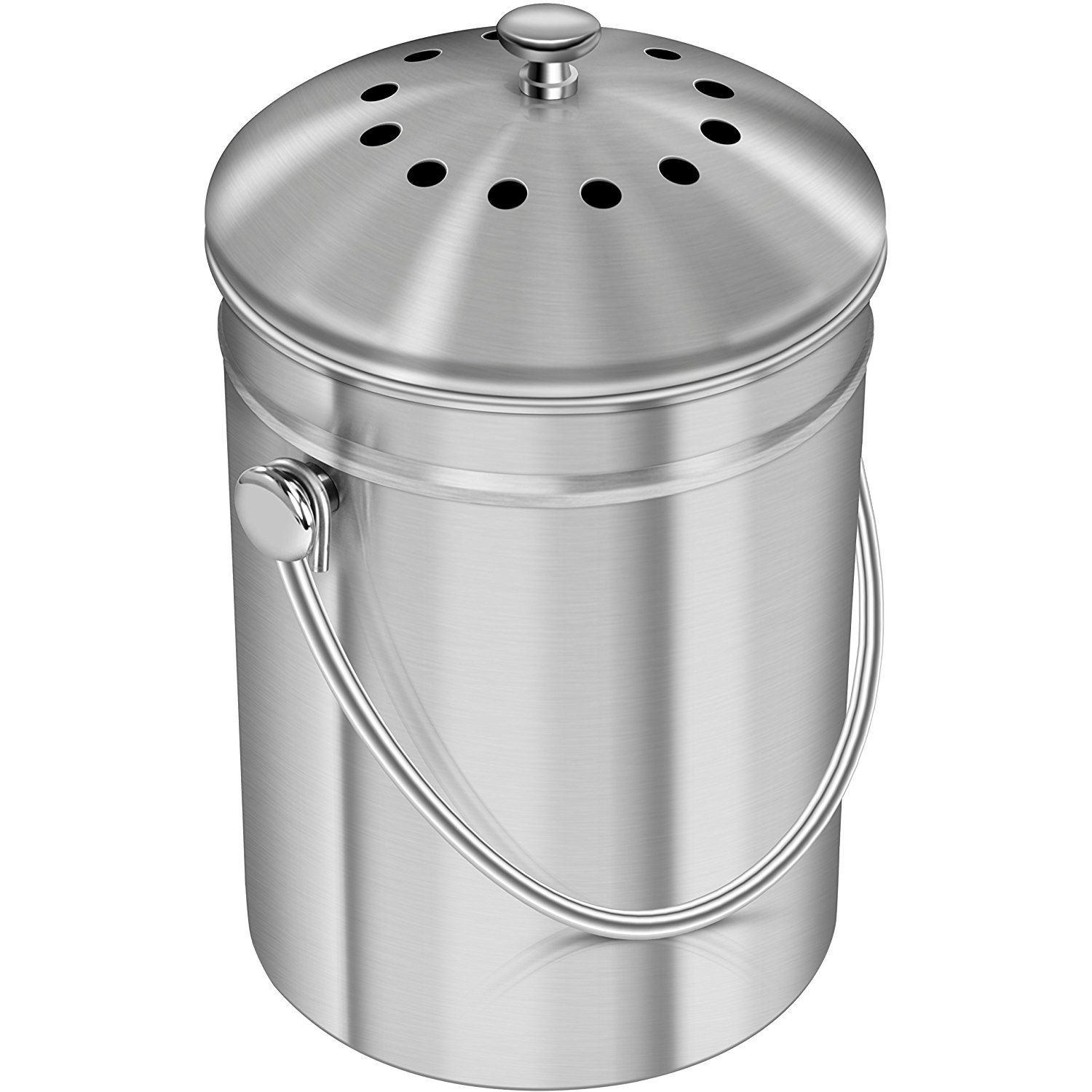 Premium Quality Stainless Steel Compost Bin 1 3 Gallon Includes Charcoal Filter Utopia Kitchen Patiolawngard Compost Bucket Kitchen Compost Bin Compost Bin