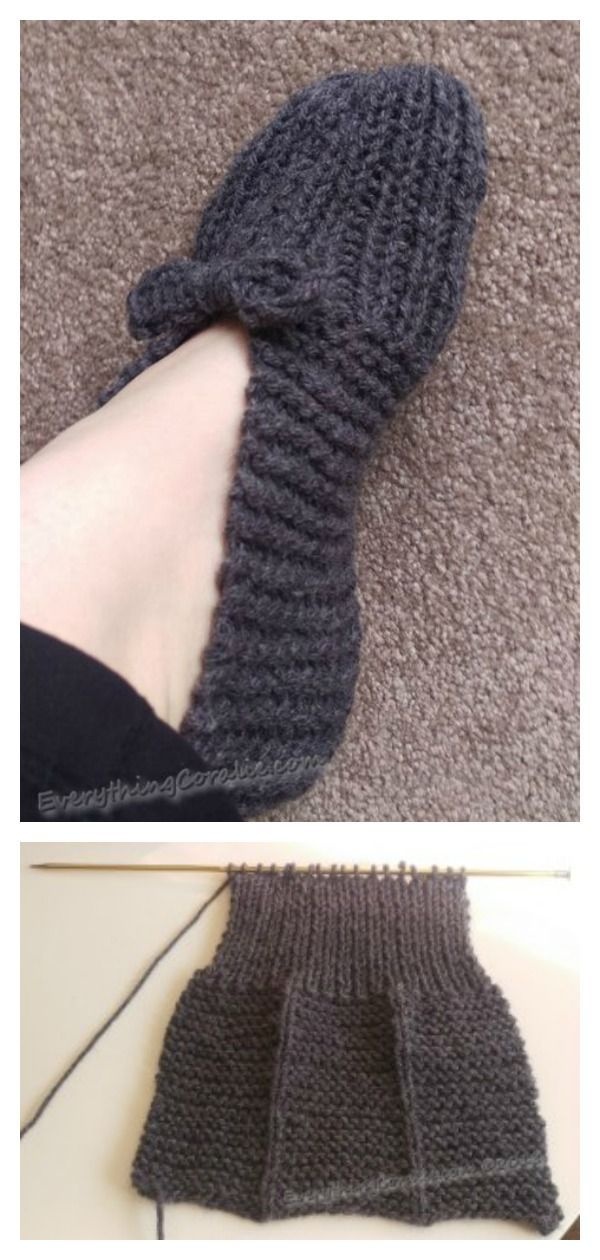 4 Simple House Slippers Free Knitting Pattern   Knitted ...