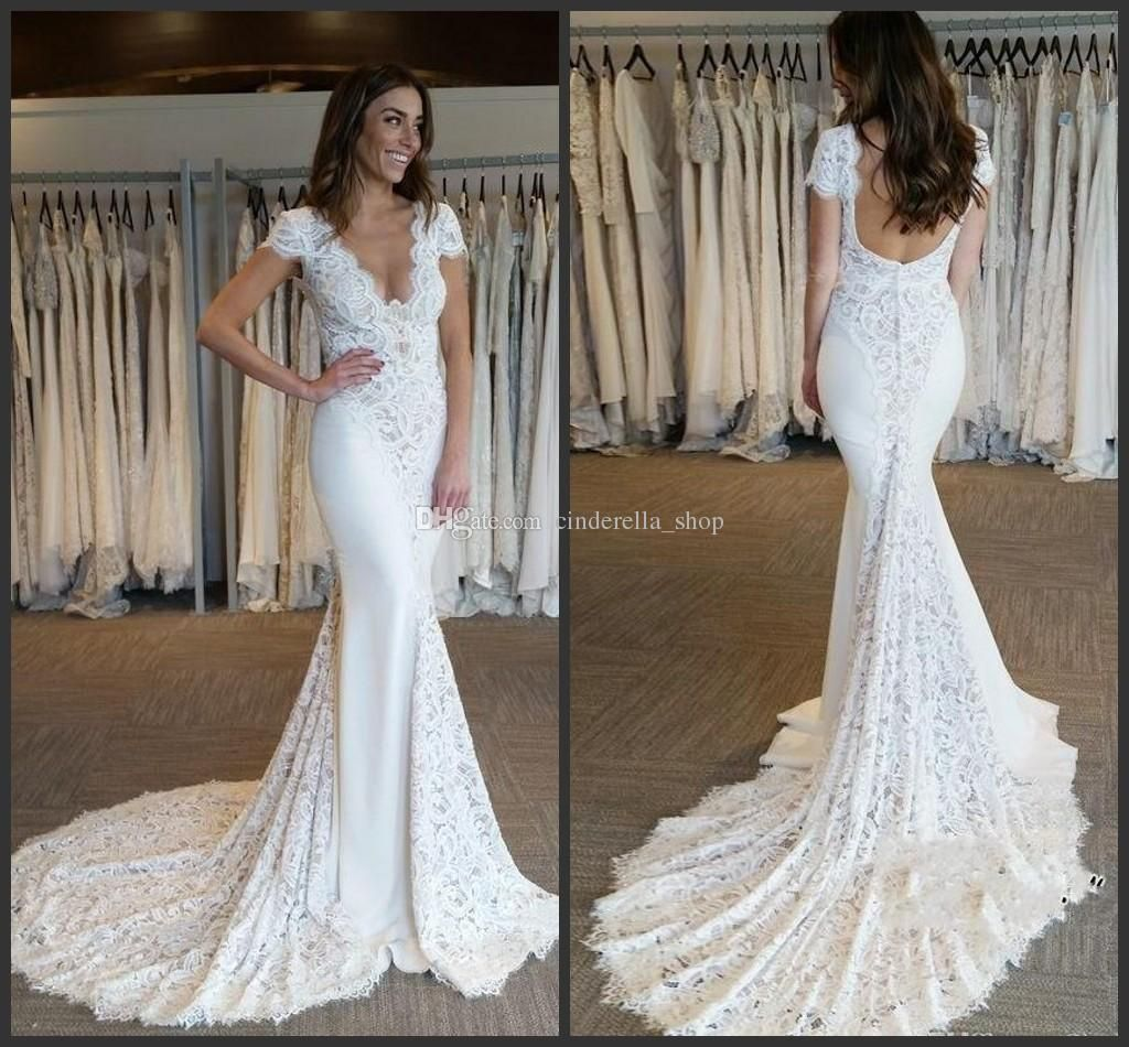 200752db90 2018 Full Lace Mermaid Wedding Dresses Cap Sleeves Sweep Train V Neck  Backless Long Beach Garden Bridal Gowns Customized Cheap Affordable Dresses  Ball Gown ...