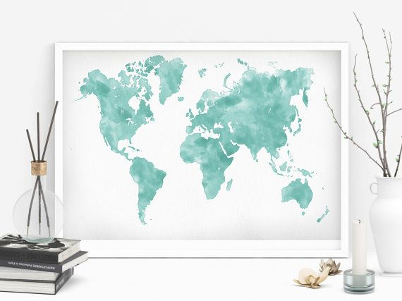 Printable Teal World Map Watercolor Of Office Printabl Art Living Room
