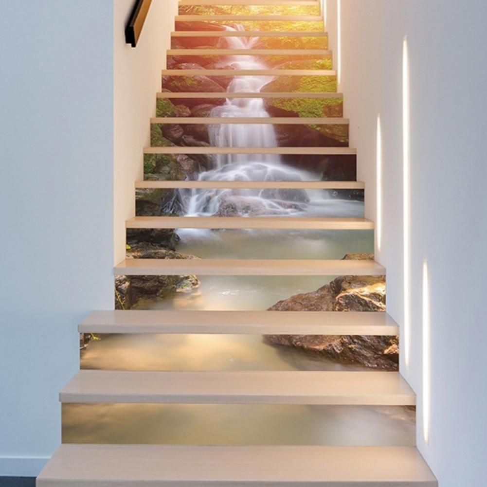 13pcs Pvc 3d Waterfall River Stair Stickers Waterproof Stairway Stickers Self Adhesive Stickers Bedroom Decor Ro Diy Staircase Stair Stickers Wall Wallpaper