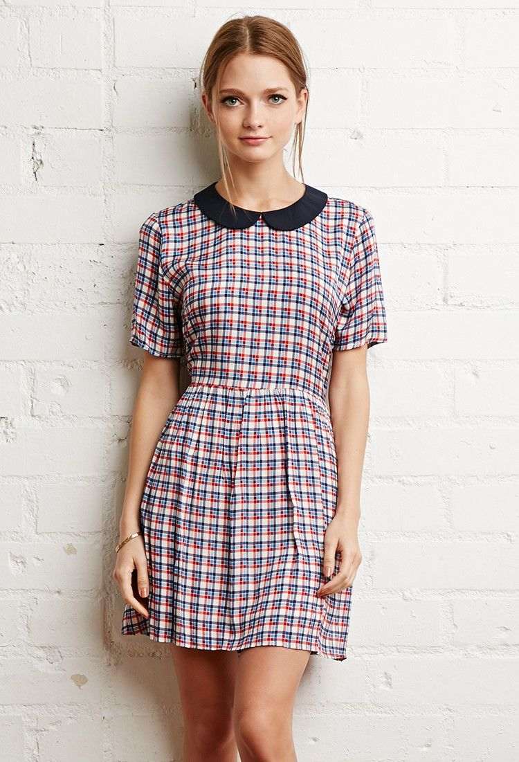 peter pan collar plaid dress - new arrivals - 2000052198