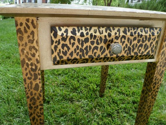 Animal Print Gold and Silver Leafed Side Table Hollywood Regency with a Swarovski Crystal knob