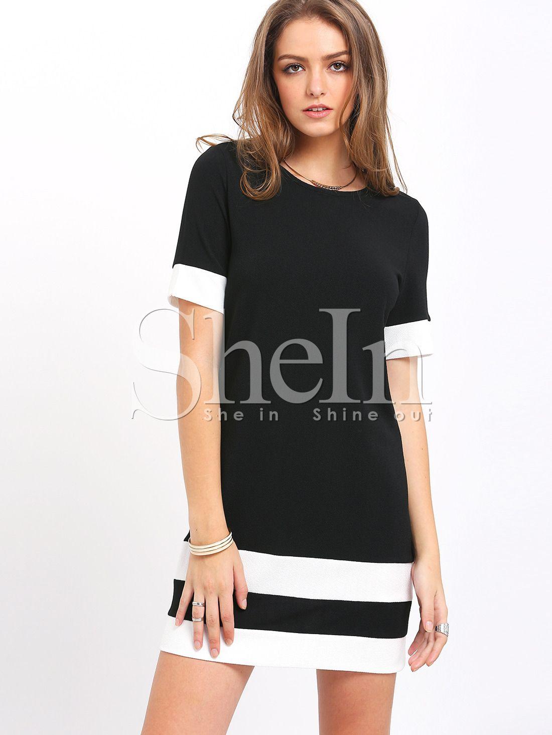 Color Block Stripe Shift Dress Short Sleeve Shift Dress Mini Dress Casual Striped Mini Dress [ 1465 x 1100 Pixel ]