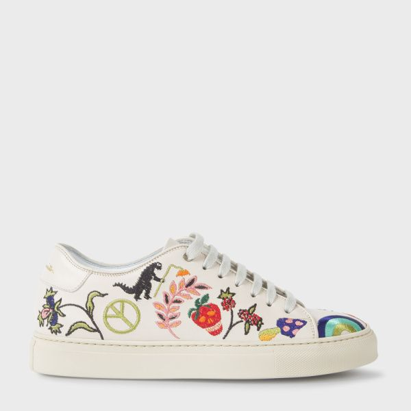 Paul Smith Women's Off-White Leather 'Basso' Trainers With Embroidered  Motifs | casual rainbow clothes | Pinterest | White leather, Paul smith and  Trainers