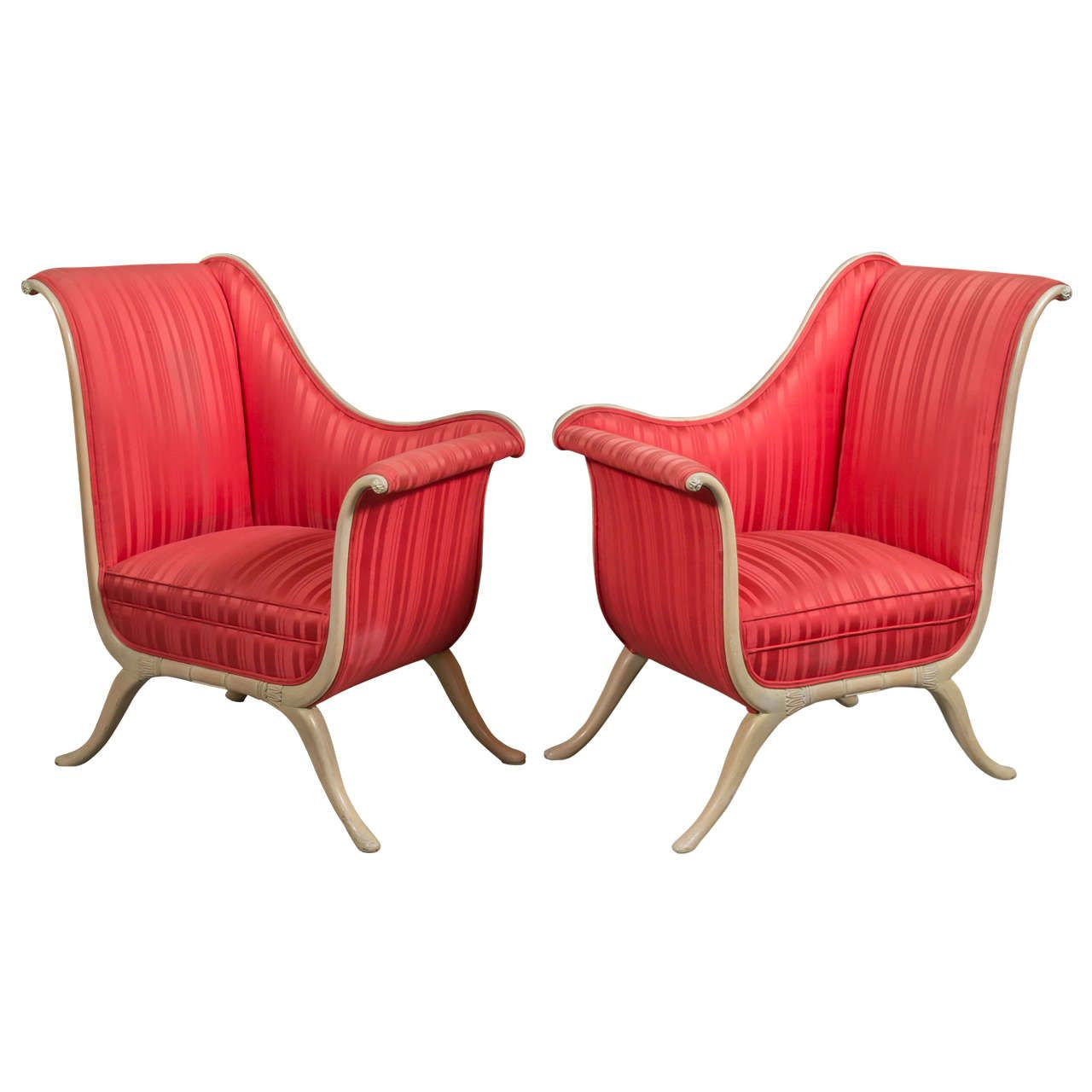 Pair of Fabulous 1950s Hollywood Regency Chairs 1950s