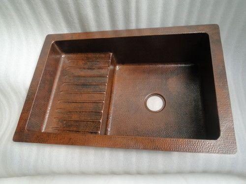 Copper Kitchen Sink with Drain Board 36\