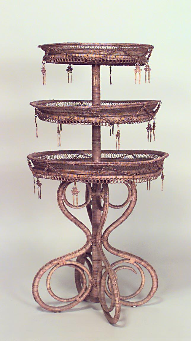 Wicker European table tier table natural | Wicker ...