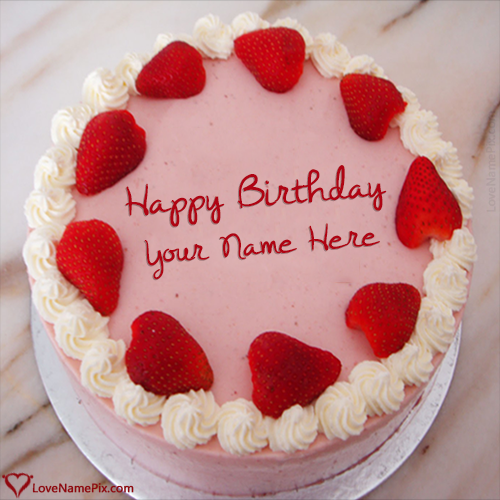 Write Name on Strawberry Virtual Birthday Cake Maker Picture