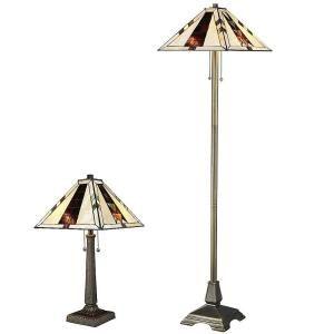 Tiffany Navajo Bronze Floor And Table Lamp Set QSC18039/