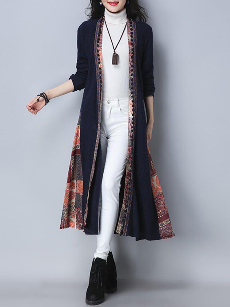 Folk Style Vintage Print Patchwork Long Sleeve Women Long Coats - Banggood Mobile