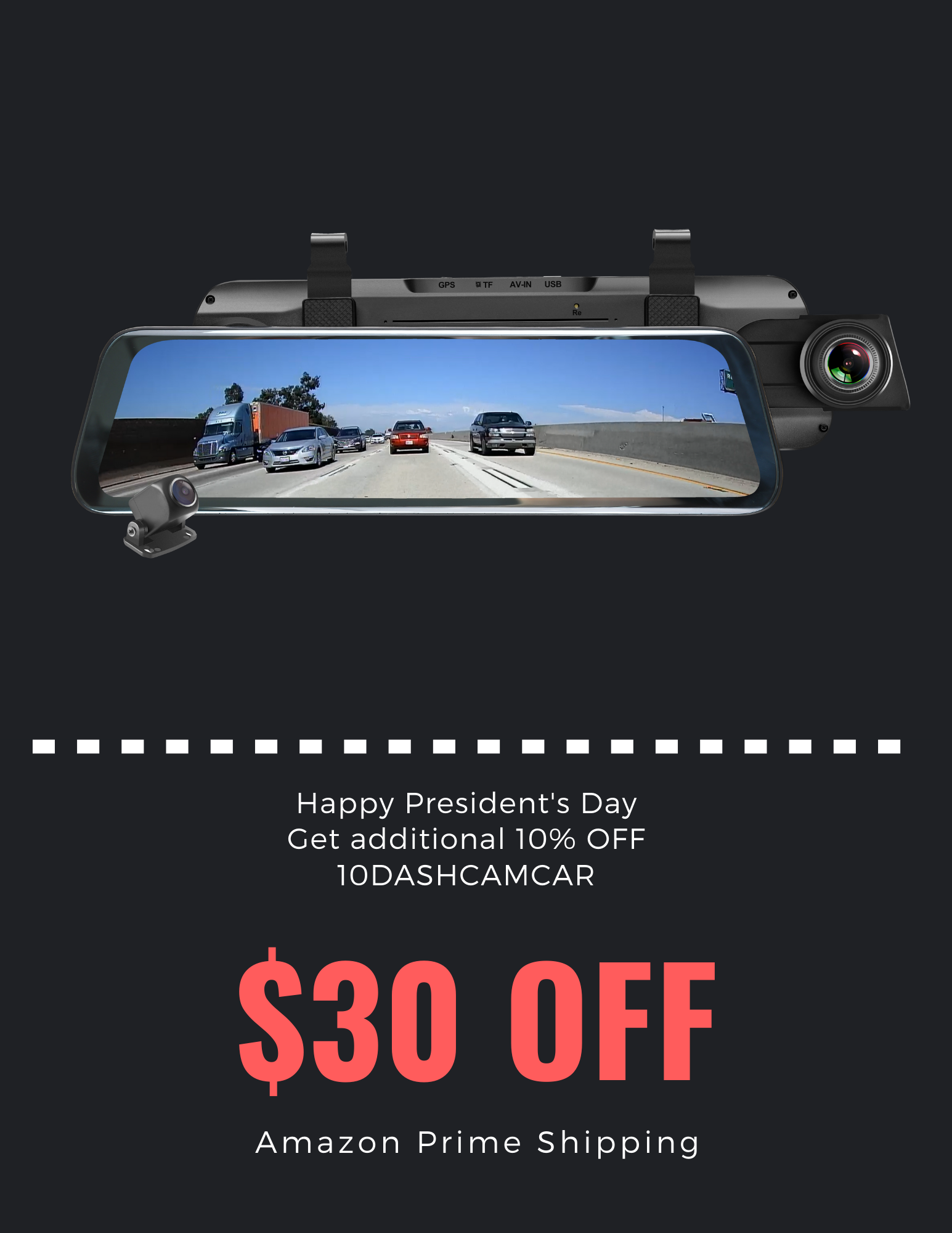 Acumen Digital Rearview Mirror Happy Presidents Day 30 OFF10OFF 10DASHCAMCAR