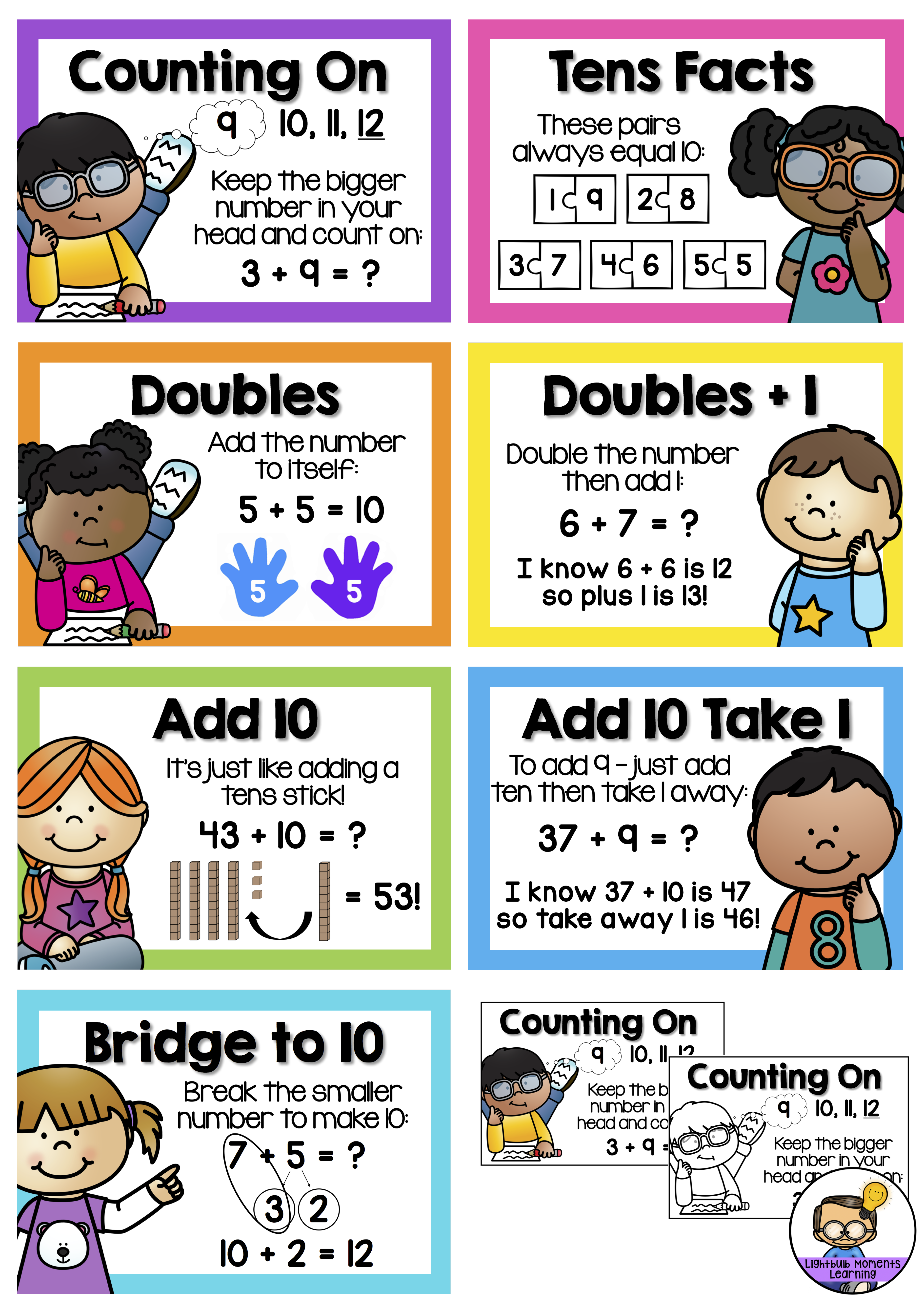 Predownload: Addition Mental Strategies Posters And Activities Counting On Tens Facts Doubles Doubl Math Strategies Anchor Chart Homeschool Math Math Strategies Posters [ 5310 x 3742 Pixel ]