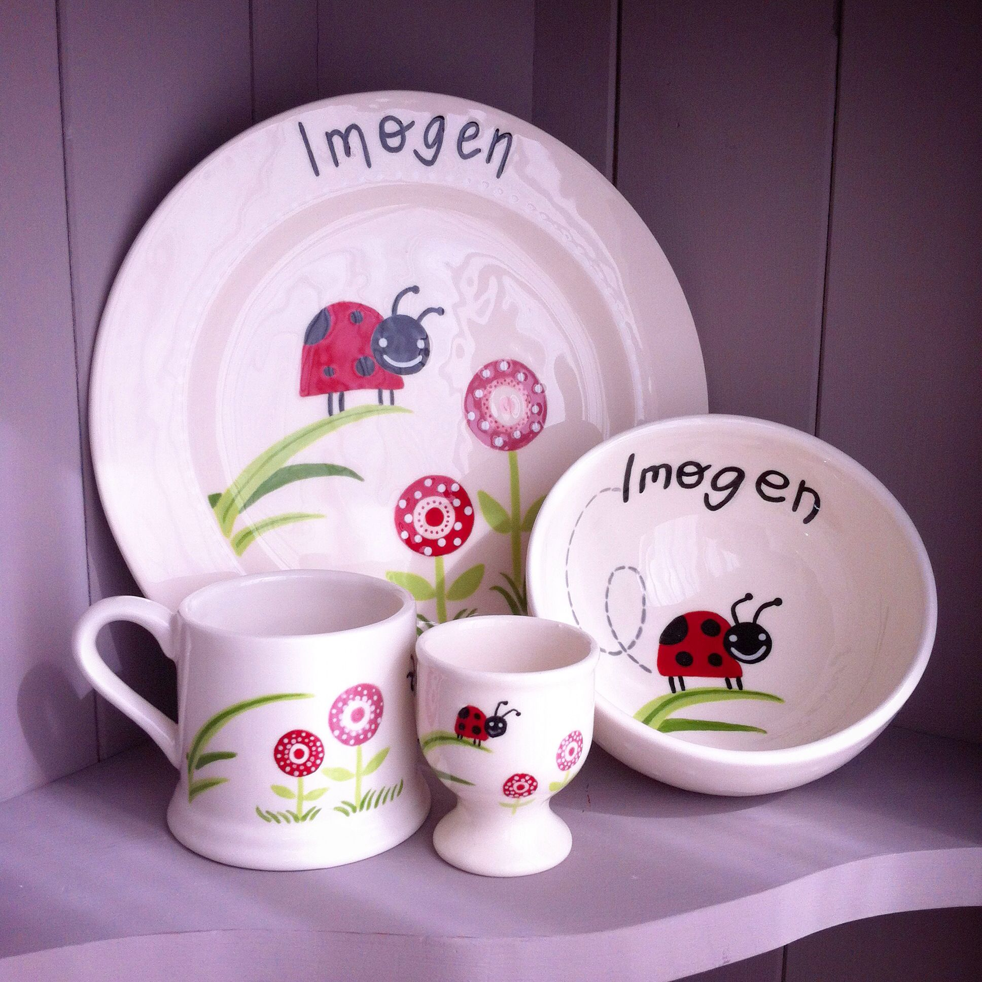 Personalised ceramic Ladybug childrenu0027s dinner set. This cute little gift set includes plate bowl mug and eggcup. Each piece has been hand painted and ... & Personalised ceramic Ladybug childrenu0027s dinner set. This cute little ...