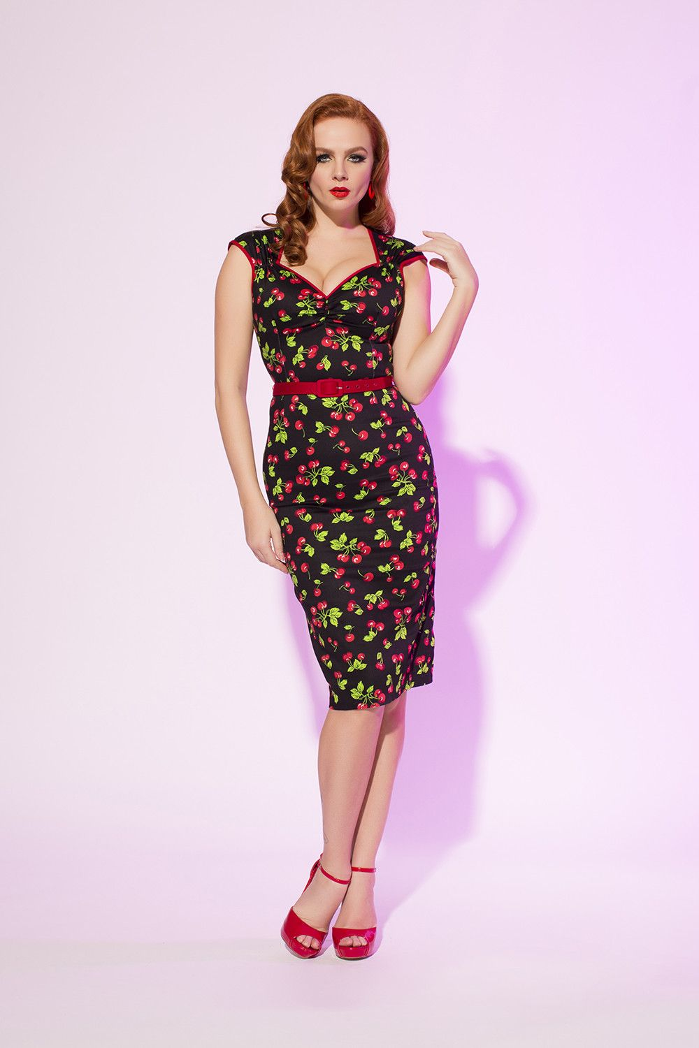 e613abaa Pinup Couture Natasha Dress in Black Cherry Print | Retro Style Wiggle Dress  | Pinup Girl Clothing