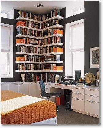 Floating Corner Book Shelves For The Home Office Guest Bedroom