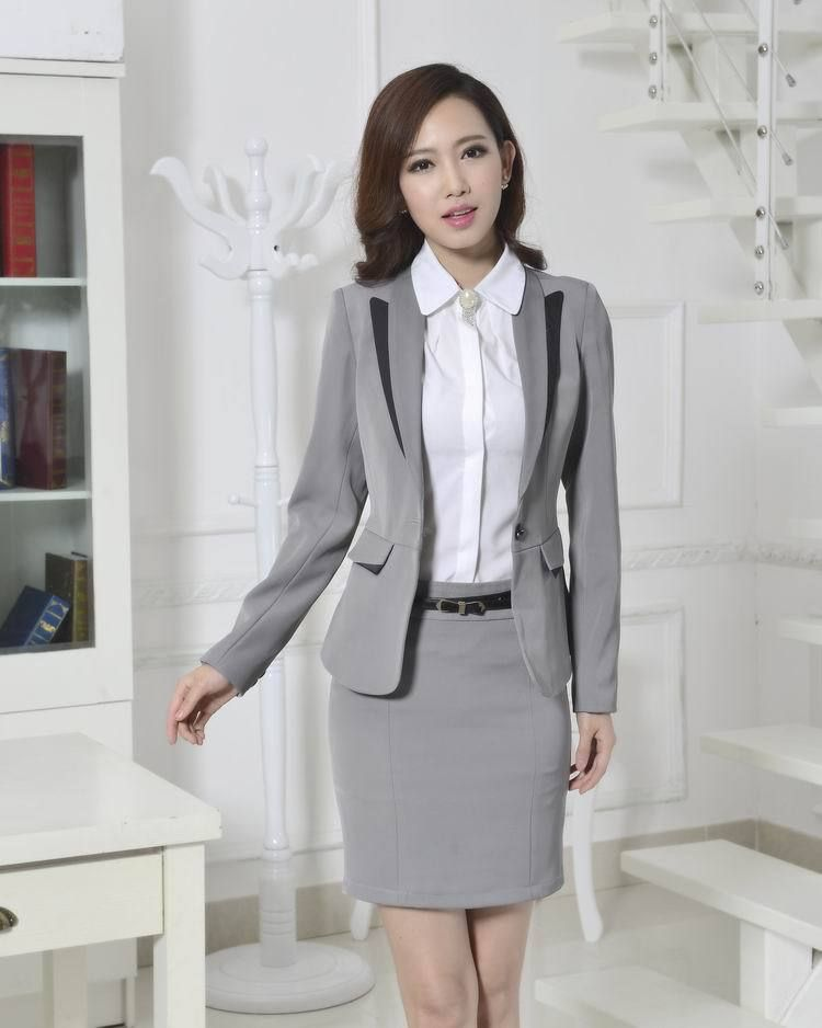 9b5040d0ab1 Fashion Formal Pant Suits for Women Trousers Suits Winter 2015 Gray Blazer  Ladies Work Wear Office Uniform Plus Size Gray